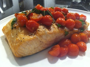 Salmon with Melting Cherry Tomatoes