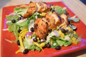 Barbecue Chicken Salad with Creamy Cilantro Dressing